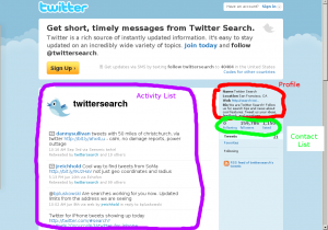 Highlighted functional components of Twitter UI